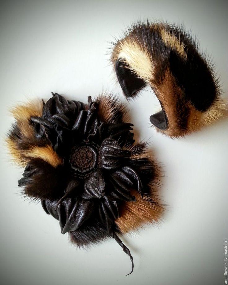 Купить Брошь и браслет из кожи и меха норки - коричневый, норковая мода, кожаные украшения