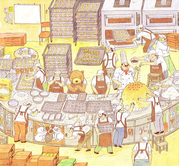 瑪利MAMA月餅禮盒包裝插畫 on Behance