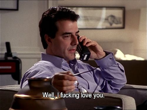 Mr. Big tells Carrie he loves her (finally), in his own way.