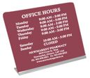 """Display Counter Sign. Holds a custom sign 10"""" wide by up to 10"""" high. Up to 10 lines of engraving included. Holder is available in Gold or Silver. Ideal for business hours, medical office signs for patient information, recreation complexes etc."""