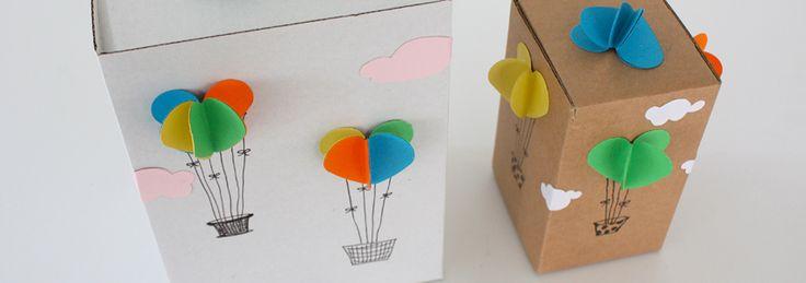 Met deze knutsel ben je snel in de wolken. Want van deze vrolijke doosjes met luchtballonnen wordt je toch helemaal blij? Zonder schaar gemaakt, want met behulp van de hartjes perforator stans je makkelijk identieke hartjes uit papier, voor een extra mooi resultaat.