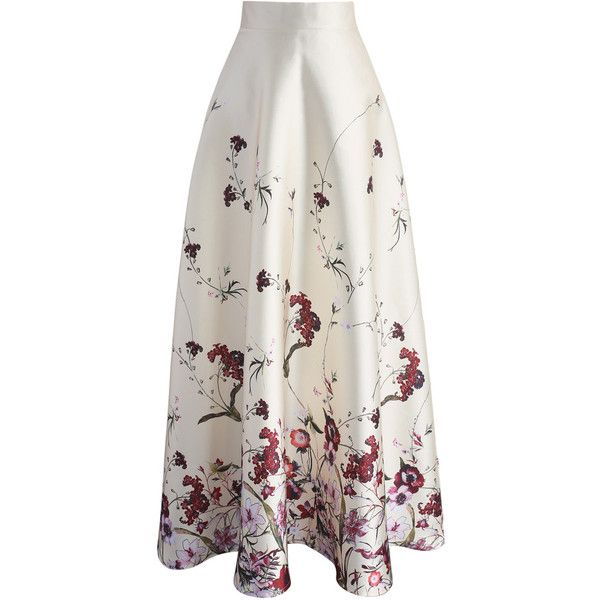 Chicwish Serenity Floral Printed Maxi Skirt (570 ZAR) ❤ liked on Polyvore featuring skirts, white, white maxi skirt, floral skirt, ruched skirt, ankle length skirts and floor length skirt