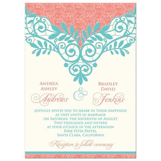 Coral, turquoise, and ivory vintage lace wedding invitation. We will personalize the wording for you when you purchase this elaborate and elegant unique vintage lace wedding invitation. The colors are coral orange and turquoise (teal, aqua blue) with an ivory background. Coral and turquoise are a beautiful color theme for a spring wedding or summer wedding.  #weddings #invitations #weddinginvitations #lace