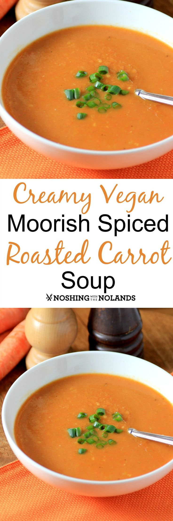 Creamy Vegan Moorish Spiced Roasted Carrot Soup by Noshing With The Nolands is full of flavor and nutritious too! Made using the new non-dairy Veggemo this soup is sublime on a cold winter's day!