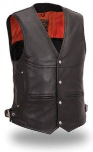Rugged rider or cowboy look can be completed with brown leather vest. On the other hand, the black leather vest for men can mostly be observed as outfits of bike or motorcycle riders. There are also sweater vests tailored from other fabric like cotton, wool, canvas, and others.