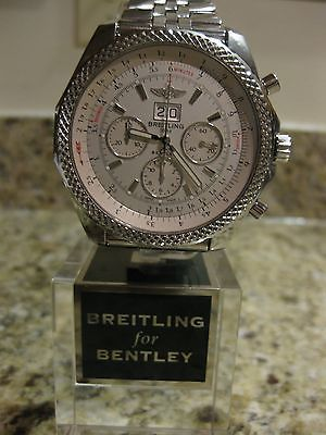 Breitling for Bentley 6.75 Chrono Silver Storm Dial Watch A44364 Box & Papers