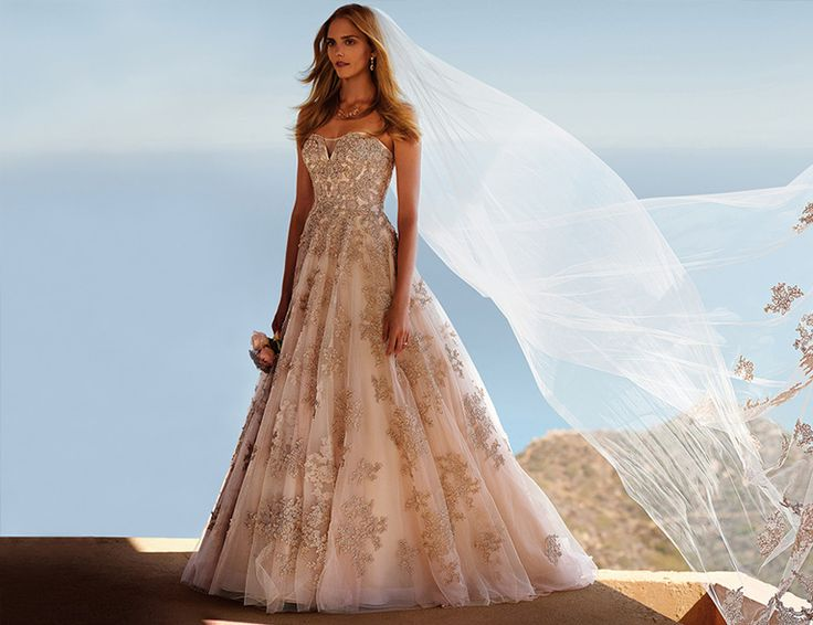 Rose Gold Ball Gown with Cathedral Veil  Weddings  Wedding dresses Wedding Davids bridal