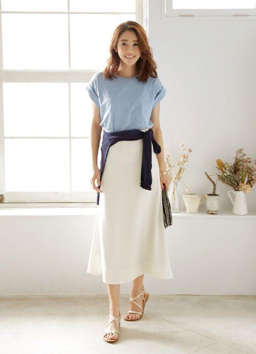 ■t-shirts:ロールUPスリーブTシャツ (BLUE) 4,200yen ■skirt:【LUXE】厚地ジョーゼットロングスカート (O.WHITE)…