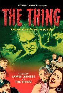 "Movie: The Thing from Another World 1951. Scientists and American Air Force officials fend off a blood-thirsty alien organism while at a remote arctic outpost.  Director:  Christian Nyby. Writers:  Charles Lederer (screenplay), John W. Campbell Jr. (based on the story ""Who Goes There?"" Stars: James Arness (Matt Dillon), Margaret Sheridan, Kenneth Tobey, Robert Cornthwaite. (clic  pic for more info)"