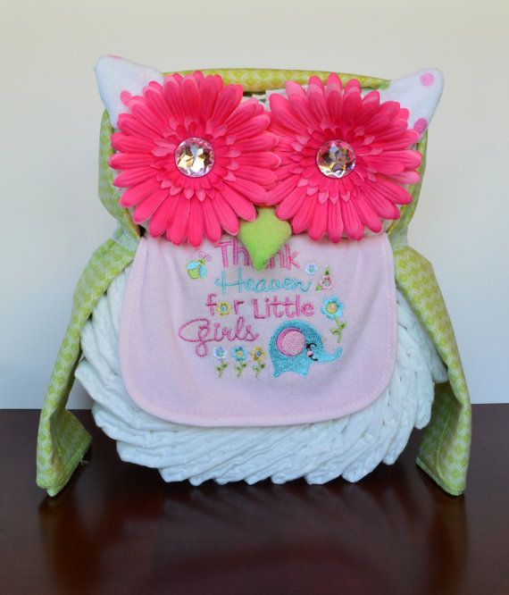 Boy, Girl, or Neutral Owl Diaper Cake - Baby Shower Gift, Centerpiece or Hospital Gift