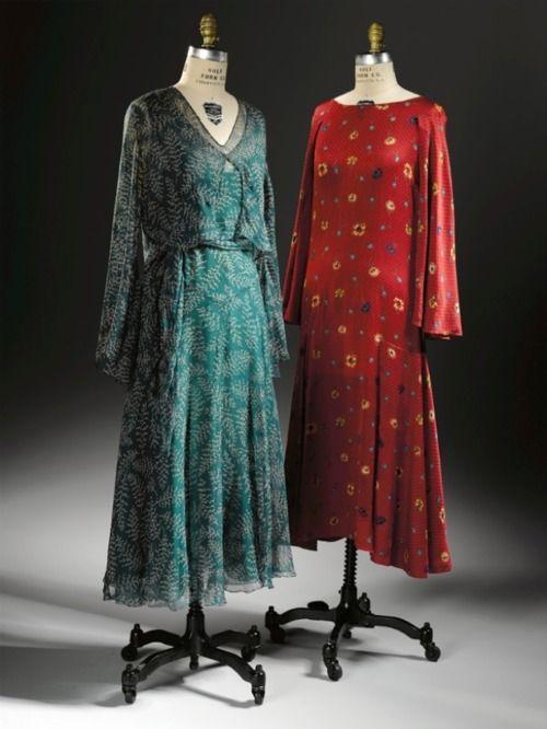 Dress and Jacket, 1928-1930  Printed silk chiffon: 1920 S, Prints Silk, Art Museum, Silk Chiffon, Vintage Fashion, 1920S Fashion, Silk Satin, Satin Dresses, Green Dresses