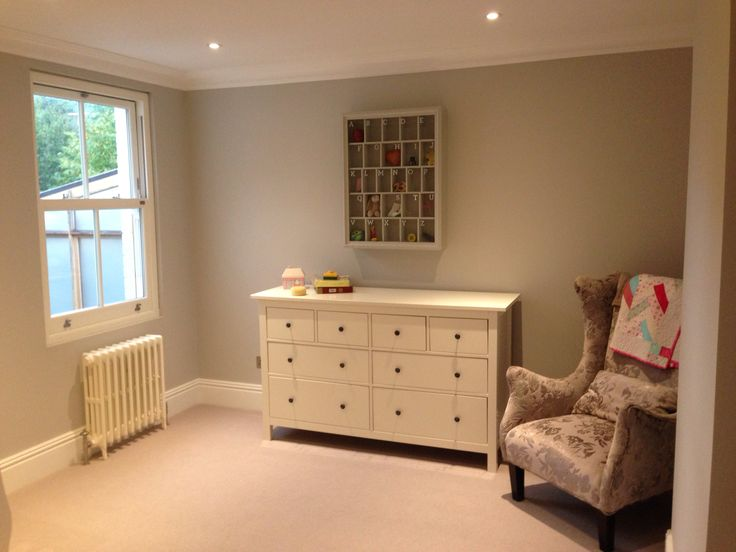 Gracie's room. Farrow and Ball cornforth white, handmade ABC box. Old school cast iron radiators, sash windows.