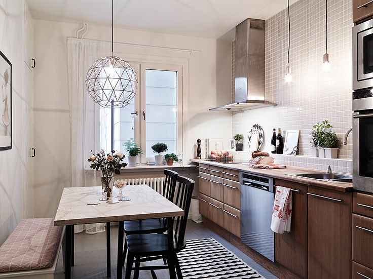 Scandinavian kitchen, pendants