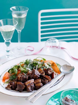 Kylie Kwong's Caramelised pork belly with Chinese coleslaw.   Via gourmettraveller.com.au