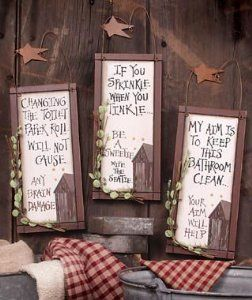 I want to decorate my outhouses real cute.  These outhouse etiquette plaques would be perfect!