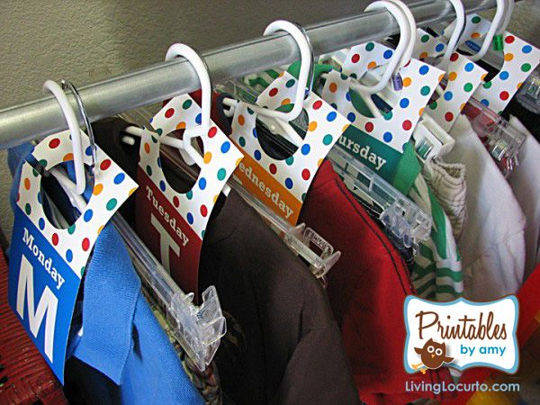 Get the printables for weekday outfit organization + 25 Back-to-School Organization Tips for the Home