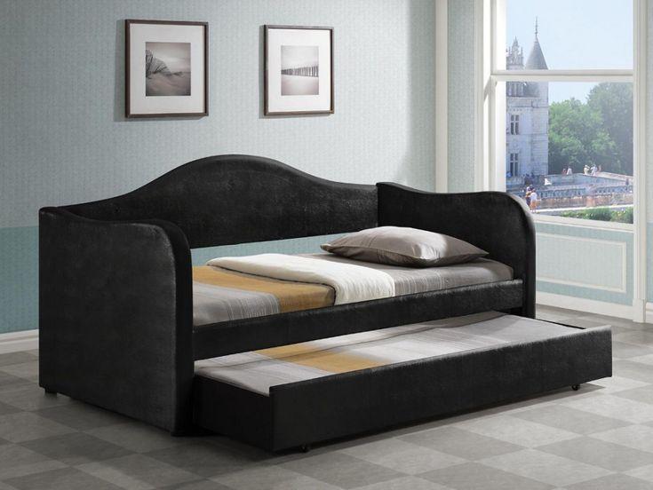 lit gigogne lipova 2x90x190cm simili noir chambres. Black Bedroom Furniture Sets. Home Design Ideas