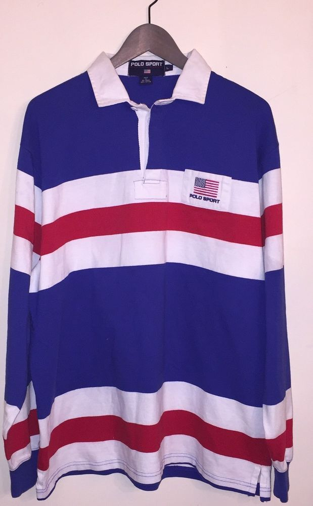 *Polo Sport* Ralph Lauren Vintage Long Sleeve 90's Rugby Style Logo Shirt Mens L | Clothing, Shoes & Accessories, Men's Clothing, Casual Shirts | eBay!