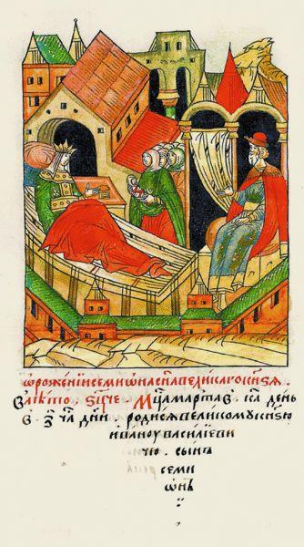 1486:Facial Chronicle-b.17, p.062-Birth of Simeon Ivanovich of Kaluga.О рождении Симеона,сына вел.князя.В 6995 году месяца марта в 21 день, в 7-м часу дня,родился сын Симеон у вел.князя Ивана Васильевича.