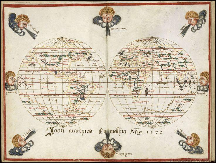 Atlas portulano Joan Martines, 1570. Contenido: 1. [Mapamundi]. 2. [Costas de…