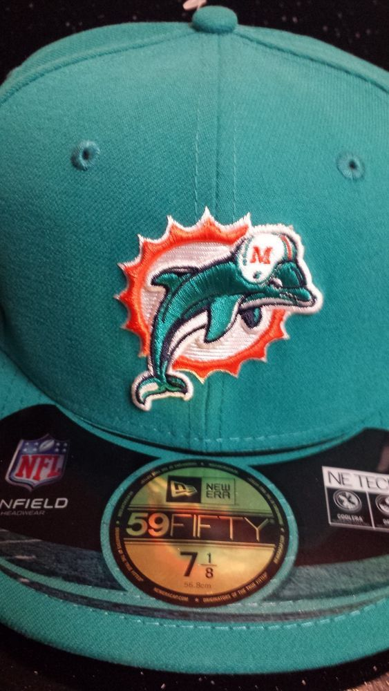 """Miami Dolphins NFL New Era 59Fifty """"Onfield"""" Aqua Fitted Hat New Size 7 1/8 #NewEra #MiamiDolphins"""