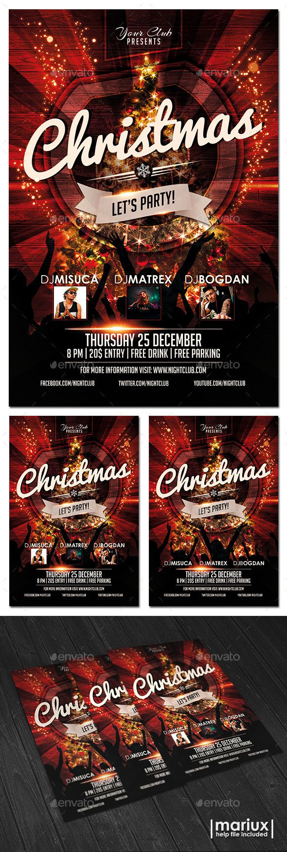Christmas Party Flyer — Photoshop PSD #christmas #santa • Available here →…