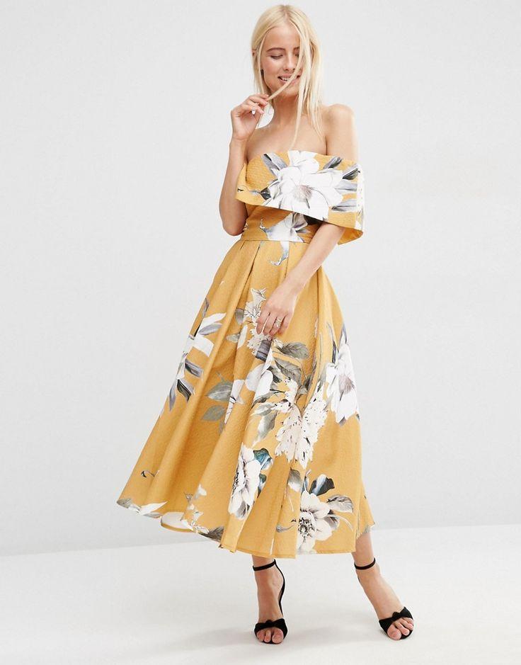 Image 4 ofASOS Premium Off The Shoulder Bardot Midi Prom Dress In Mustard Floral