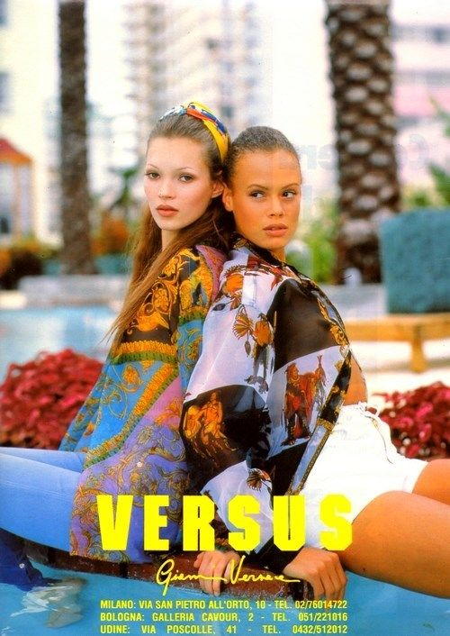 Kate Moss and Aya Thorgren for Versus Versace in 1994