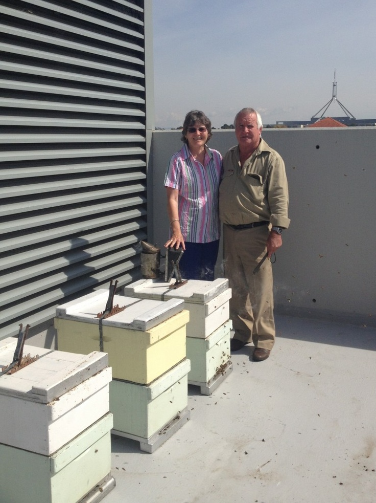 Master beekeeper supporters of the Canberra Urban Honey project - my parents xx on the roof top of Hotel Realm   #rooftop #beekeeeping #urban #agriculture