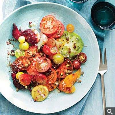 Roasted beet and heirloom tomato salad.  I added avocado - delicious