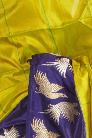 Banarsi- silk pure fig green saree with blouse