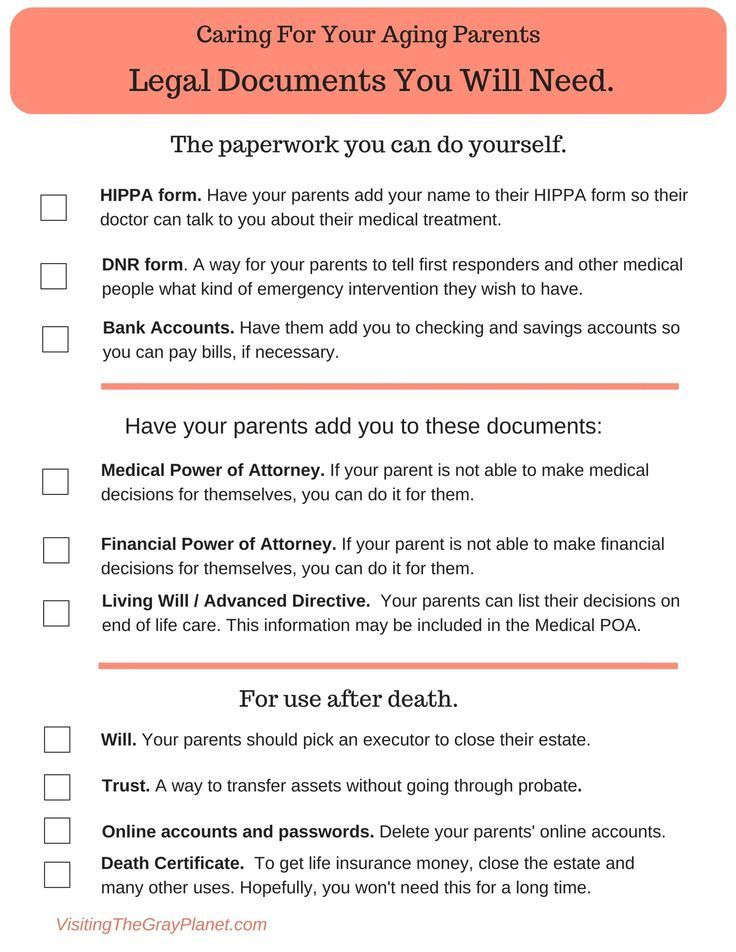 A Will 9 Legal Documents To Get Right Now Aging Parents