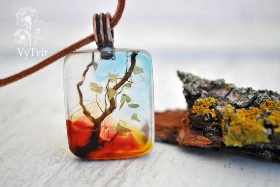 resin necklace, eco flowers - pendant necklace -eco resin necklace, Jewellery…