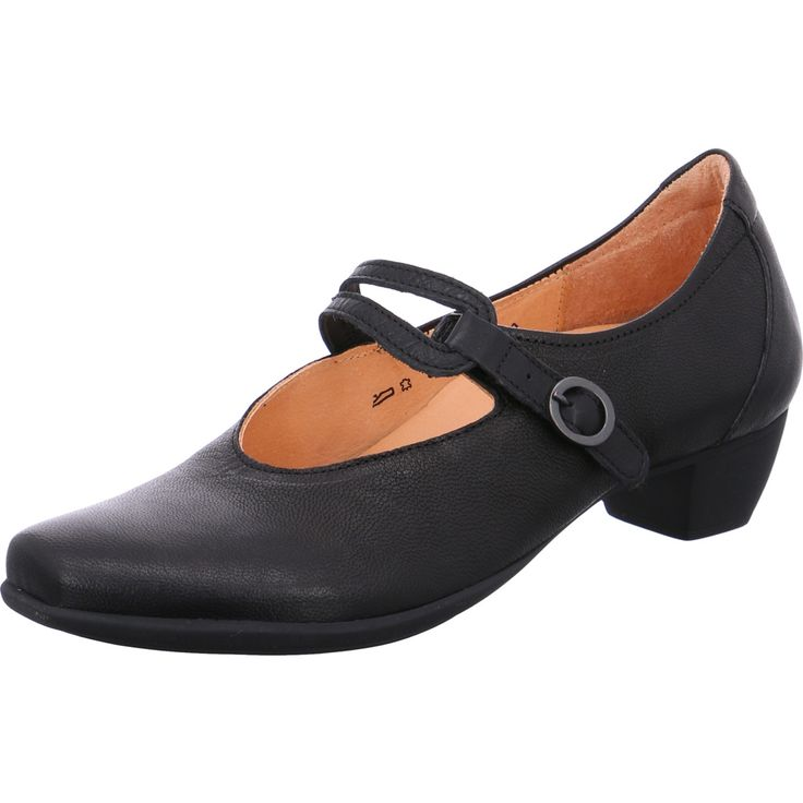 """Think!   courts  """"BEE"""" Upper: Calf leather Vegetal tanned leather lining Slip-resistant latex sole Changeable cork footbed Velcro fastener on the instepfor perfect fit and comfortable slipping-in Latex heel Heel..."""