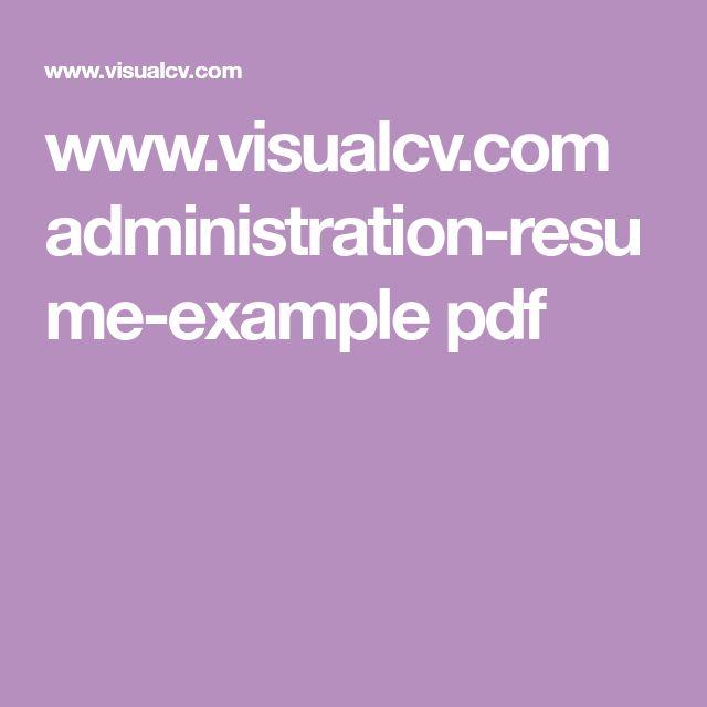 www.visualcv.com administration-resume-example pdf