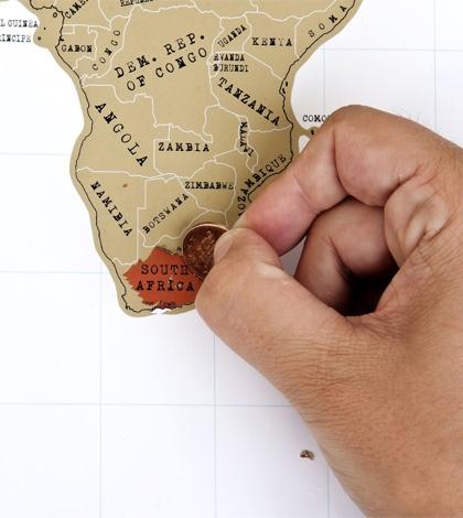 Wereldkaart krassen.