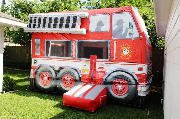 Boys Fireman Birthday party bounce house party game idea