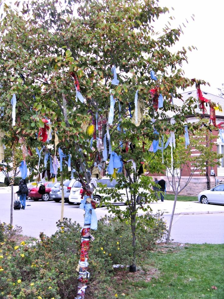 Rag tree installation at Grimsby Public Art Gallery, Sept 2012