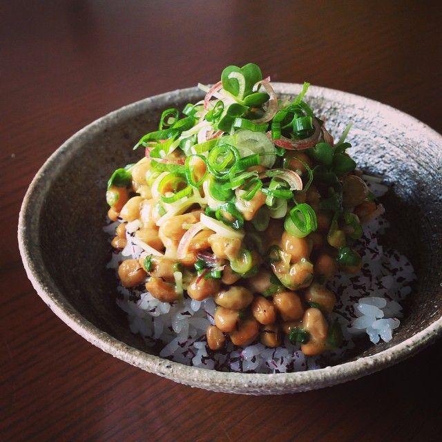 五味薬味入りの納豆をゆかりごはんに載せて食す。納豆とゆかりはロケ朝食の定番、おおひらの納豆おにぎりからアイデア拝借♡この食べ方本当におすすめです! #五味薬味 #薬味マニア #ゆかりがいい仕事してます
