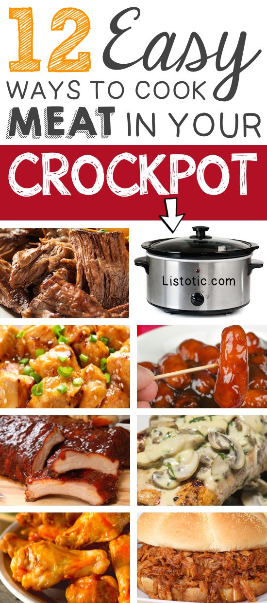 12 Mind-Blowing ways to cook meat in your crockpot! Easy slow cooker recipes.   Listotic