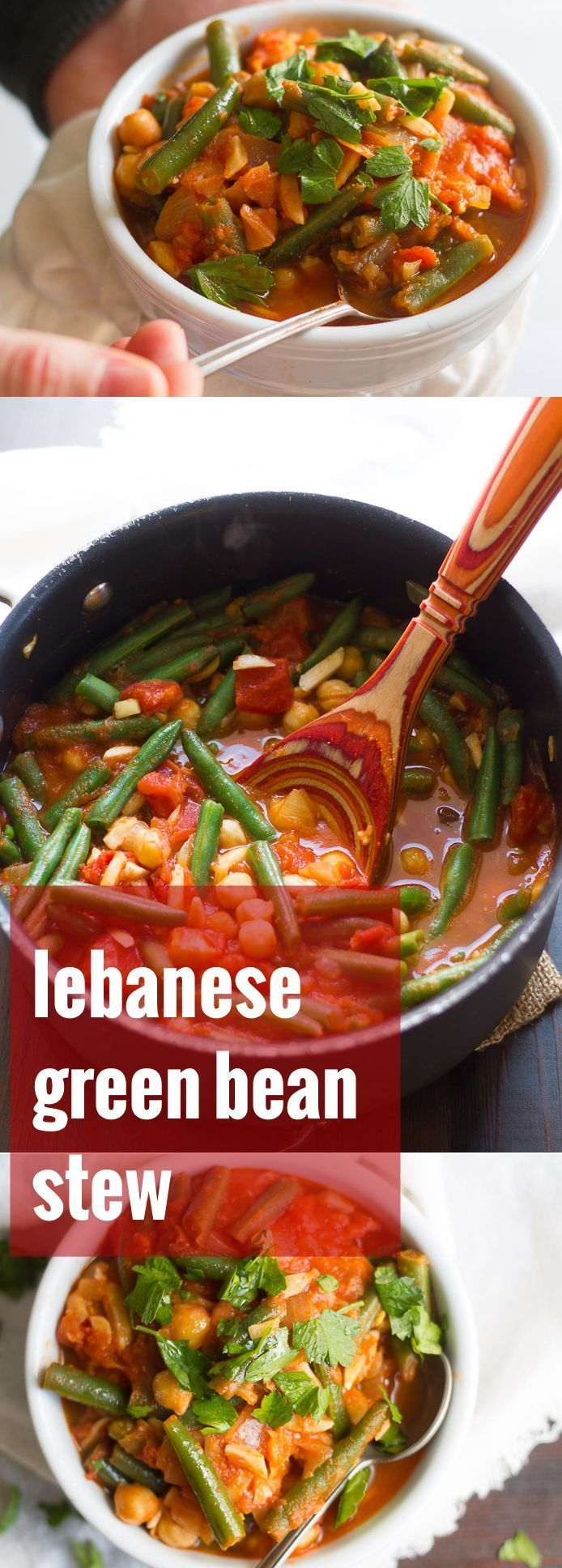 Green beans, tomatoes, almonds and chickpeas are simmered up in a lightly spiced tomato base to make this cozy and flavorful Lebabese green bean stew.