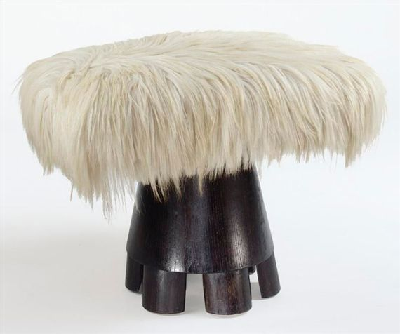 Jean Royère; Wood Base Low Stool, 1950s.