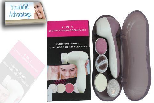 Best Seller Youthful Advantage 4-n-1 Beauty Travel Spa Set W/ Case. Facial Brush & Body Cleansing Skin Care System, Restores Radiant Skin for Women & Men, Brushes & Stimulates Collagen + Cleansers Exfoliate Skin, Pumice Stone Cleanser Removes Calluses - Buy Now!,