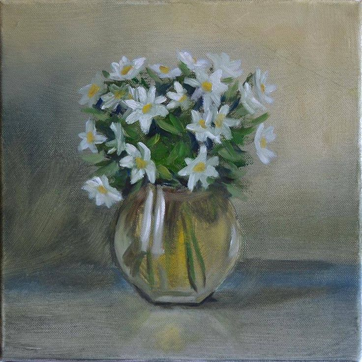 Peter Valve: Windflowers. Oil painting 30x30 cm