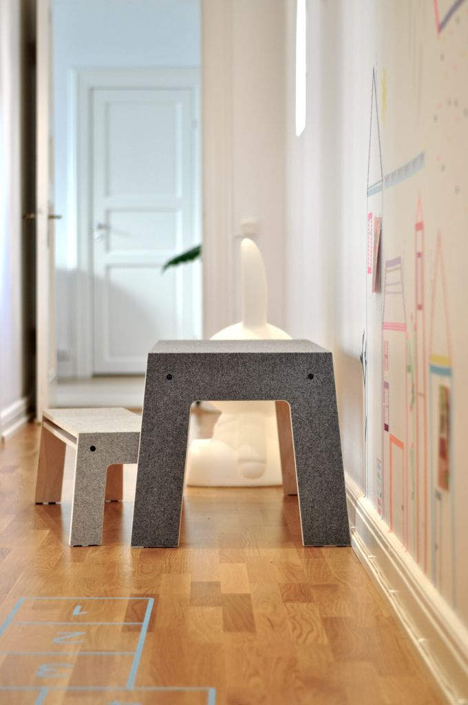 Oskar at Work Children Desk, by Perludi, spotted in Paul&Paula Blog, Table and bench made from birch plywood and Loden, a soft but wear-resistant traditional Austrian fleece fabric. Available at www.e-side.co.uk