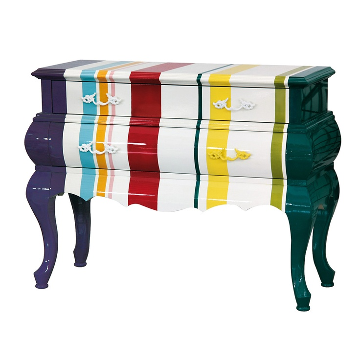 Vertical striped dressing table. Love the bold colour combinations with the large proportion of white