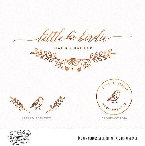 Branding Design featuring rose gold foil bird and wreath perfect for photography business & handmade boutiques