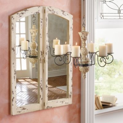 Antiqued Cathedral Mirror..for those of you that love the look of an old arched window with a mirror inset added..and refinished with a Shabby Chic white finish..take heart you can buy this one for 299..and have more time for pinning.....