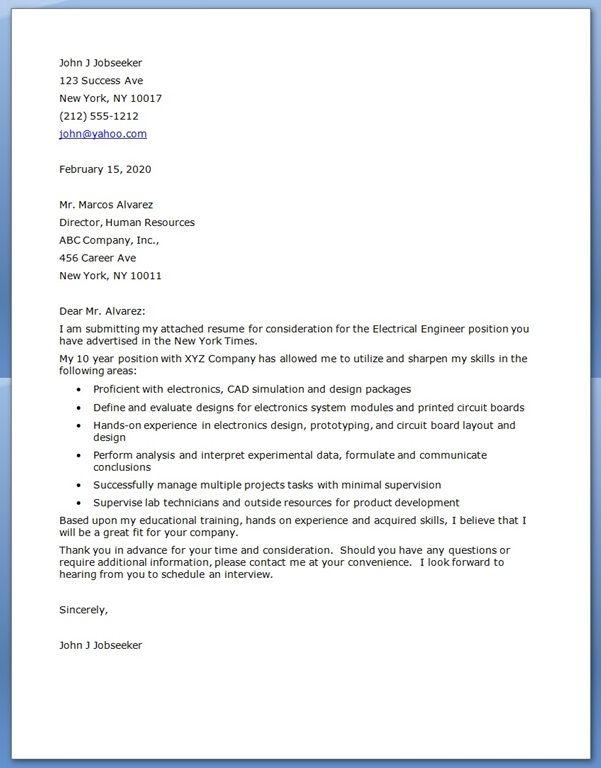 cover letter for engineering job  internship
