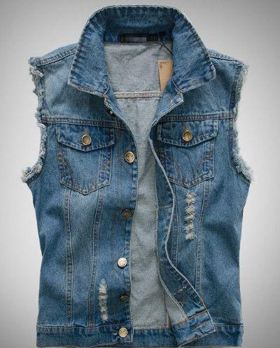 Best Value Men Casual Street Style Denim Jean Vest. Buy this Men Denim Vest direct and get $10 off! Men's Denim Vest Fabric: Denim Fit: Slim Fit Color Available: Blue Size: S, M, L, S Chest : 37.44 in